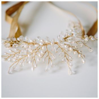 Delicate Crystal and Pearl Headpiece and Necklace