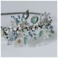 Antique Silver and Soft Green Leaf headdress