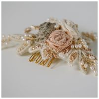 Fragile silk roses headpiece in blush and ivory