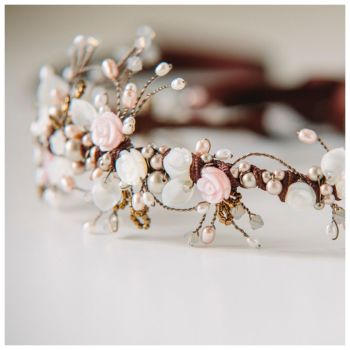 WILD ROSE | Asymmetrical Floral Wedding Headdress