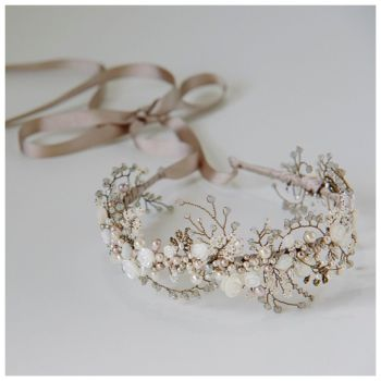 WILD ROSE CROWN | Mother of Pearl Floral Bridal Crown Headdress