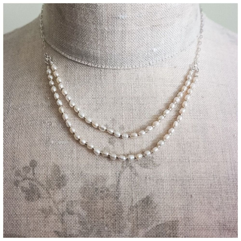 Delicate Silver and Double Row Freshwater Pearl Necklace