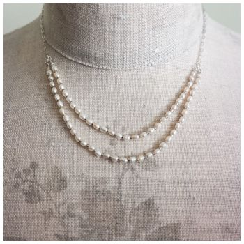 Delicate Sterling Silver Necklace with Double Row of Freshwater Pearls