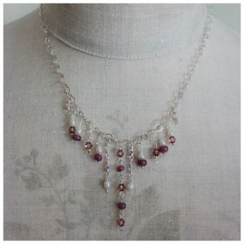 Ruby and Pearl Victoriana Necklace