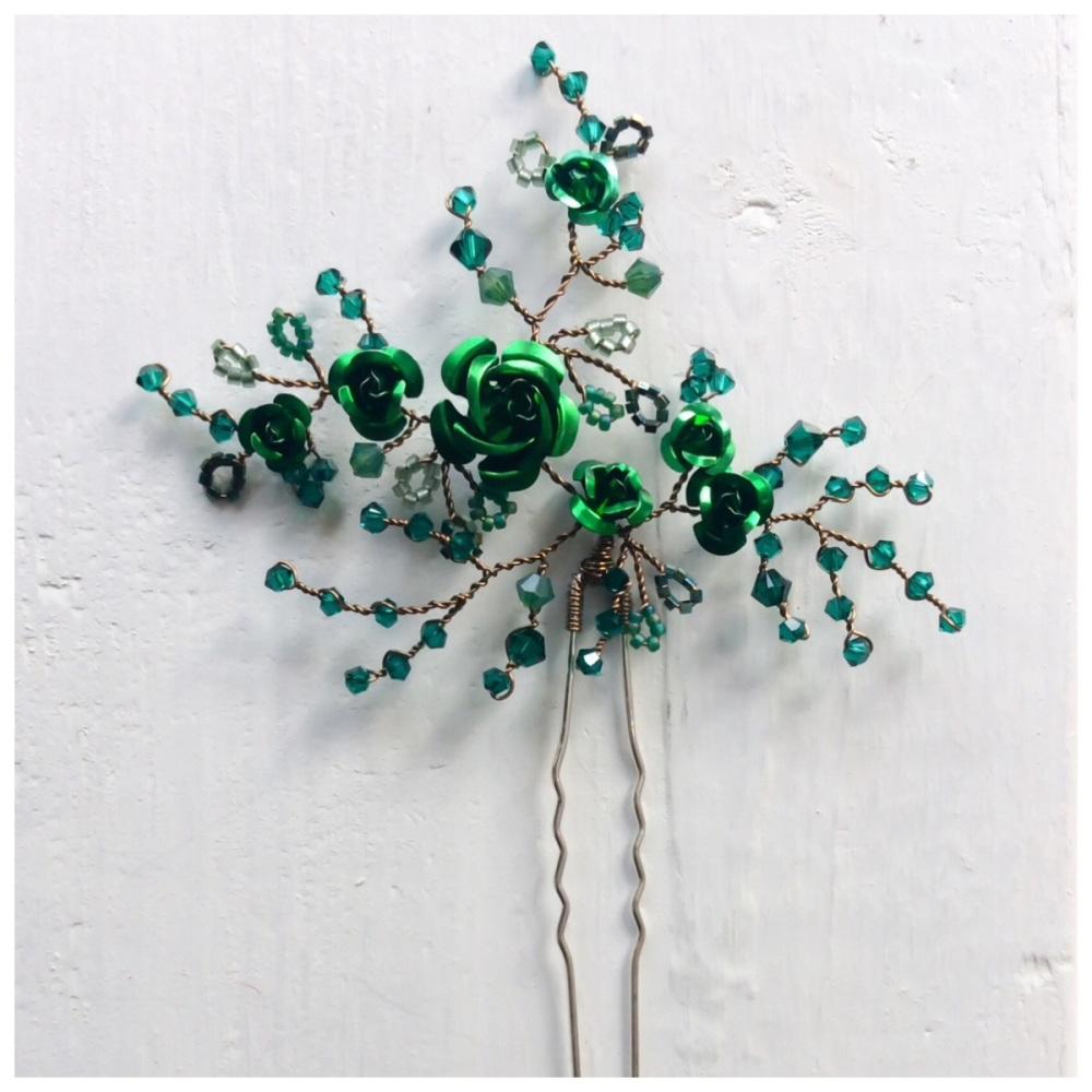 Emerald Rose Hair Pin