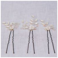 MAGNOLIA | Flower Wedding Hair Pins Set (three pin set)