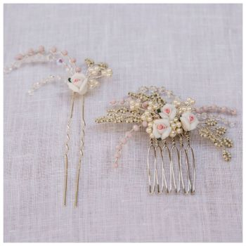 PORCELAIN ROSE | Bridal Hair Comb and Hair Pin Set