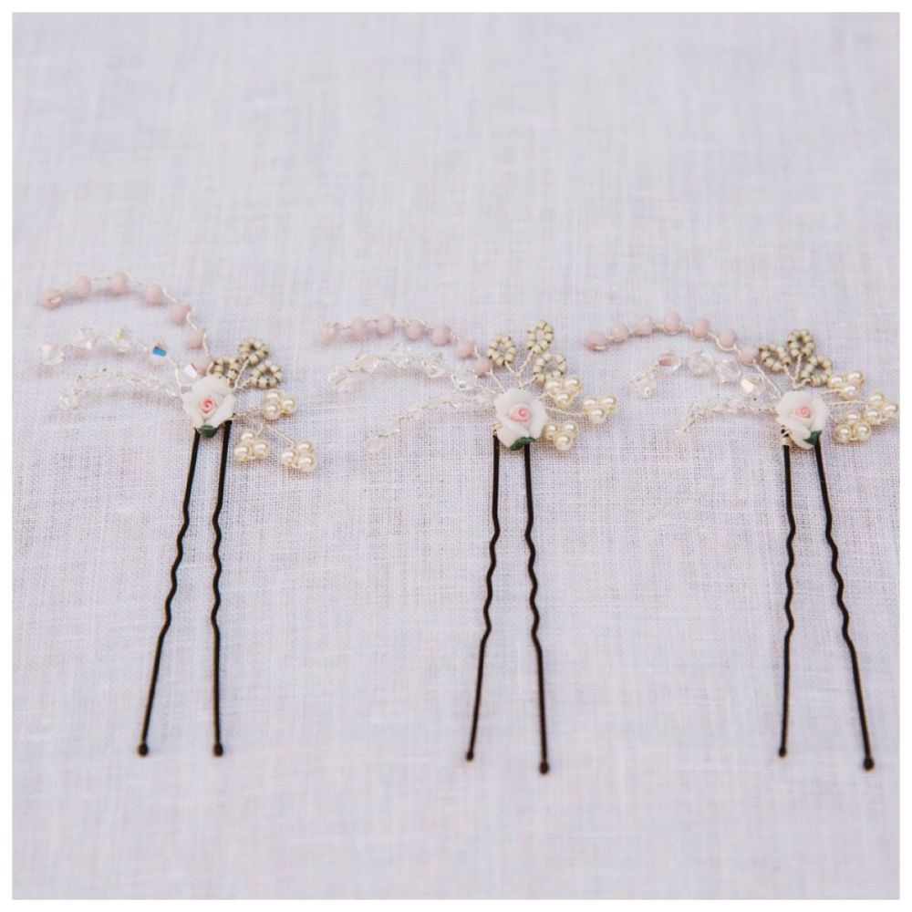 Porcelain Rose Hair Pin Set