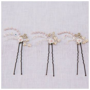 Porcelain Rose Hair Pin Set (three pin set)