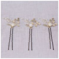 TINY ROSE | set of three rose flower bridal hair pins