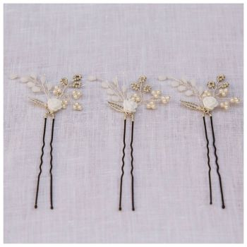Tiny Rose Hair Pin Set (three pin set)