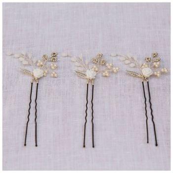 TINY ROSE | set of three rose flower bridal hair pins
