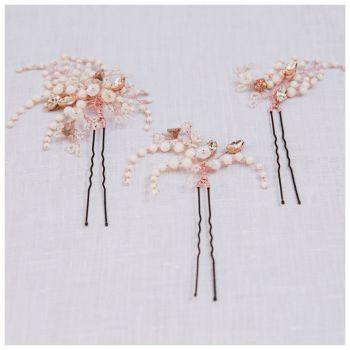WINTER ROSE | Jewelled Statement Botanical Wedding Hair Pins Set