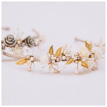 Tiny Rose and Gilded Leaf Headdress