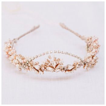 MATARA |  Blush and Rose Gold Crystal Wedding Headdress