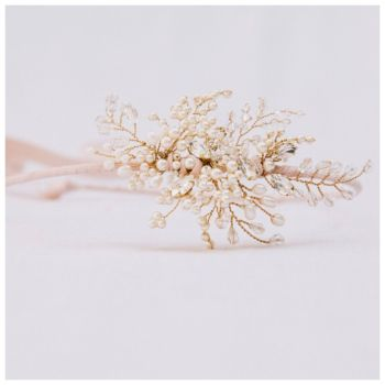 FERN | Diamante and Pearl Asymmetrical Bridal Headdress