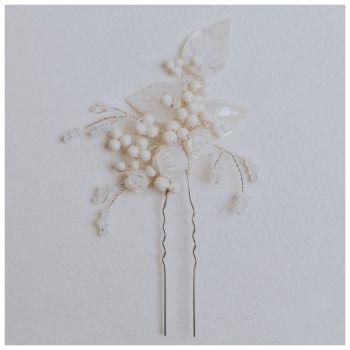 Gardenia Vintage Leaf Hair Pin