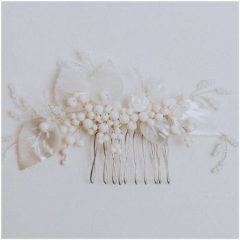 GARDENIA VINTAGE LEAF | Antique Ivory Leaves Wedding Hair Comb