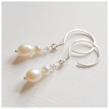 Double Pearl and Crystal Earrings