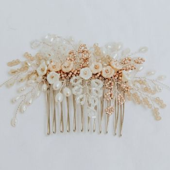 Winter Rose Comb in Ivory and Silver