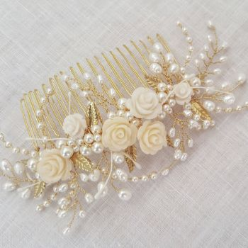 TINY ROSE AND LEAF | Floral Wedding Hair Comb