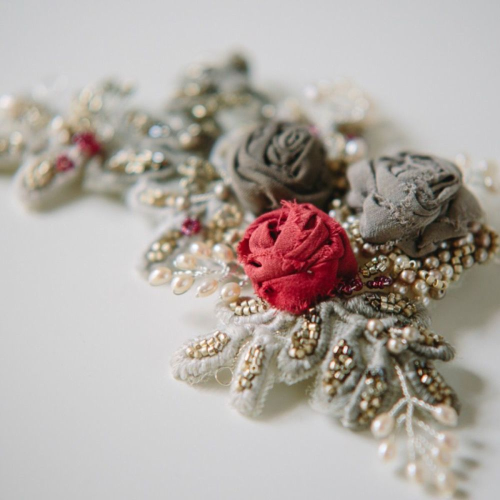 Crimson and Grey Silk Roses Headpiece