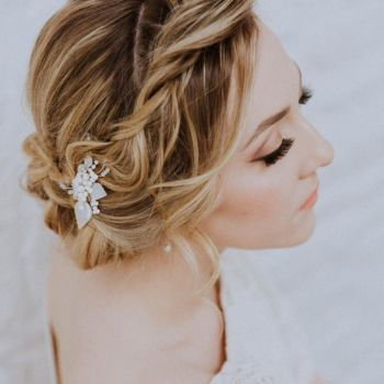 GARDENIA VINTAGE LEAF | Antique Mother of pearl leaf Wedding Hair Pin