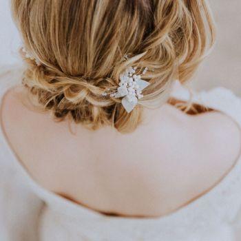 MAGNOLIA VINTAGE LEAF | Antique mother of pearl wedding hair Pin