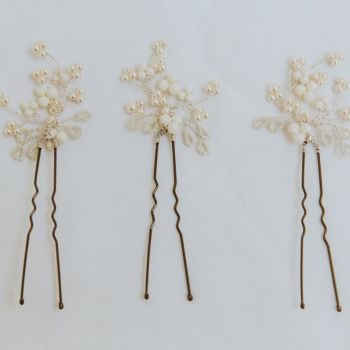 Mimosa Pearl Hair Pin Set (three pin set)