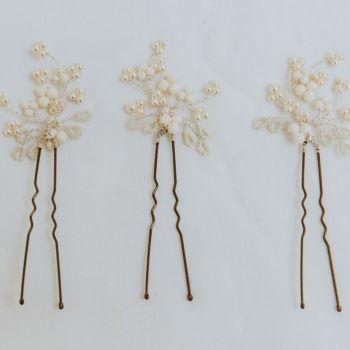Mimosa Pearl Hair Pin Set (three pin set)