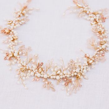 Milo Blush Pink and Gold Pearl Crown