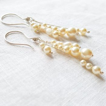 Sterling Silver Pearl Cluster Statement Earrings