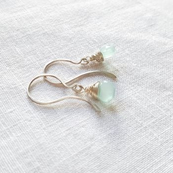 Sterling Silver Wire Wrapped Aqua Blue Chalcedony Earrings