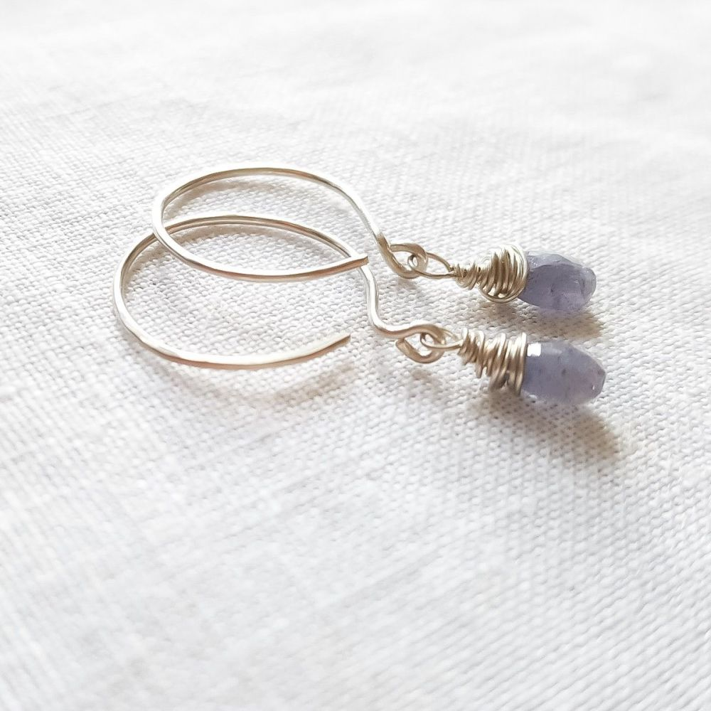 Sterling Silver Wire Wrapped Blue Tanzanite Earrings