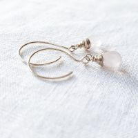 Sterling Silver Wire Wrapped Rose Quartz Earrings