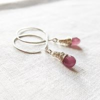 Sterling Silver Wire Wrapped Raspberry Pink Sapphire Earrings