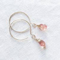 Sterling Silver Wire Wrapped Golden Pink Sapphire Earrings