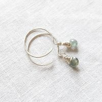 Sterling Silver Wire Wrapped Blue Sapphire Earrings