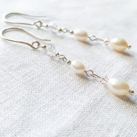 Pearl and Crystal Long Dangle Earrings