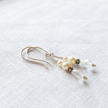 Antique Pearl and Crystal Earrings