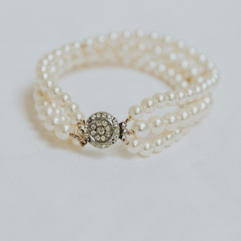 PEARL TRIPLE STRAND BRACELET | Pearl Triple Strand Bridal Bracelet with Original Vintage Clasp