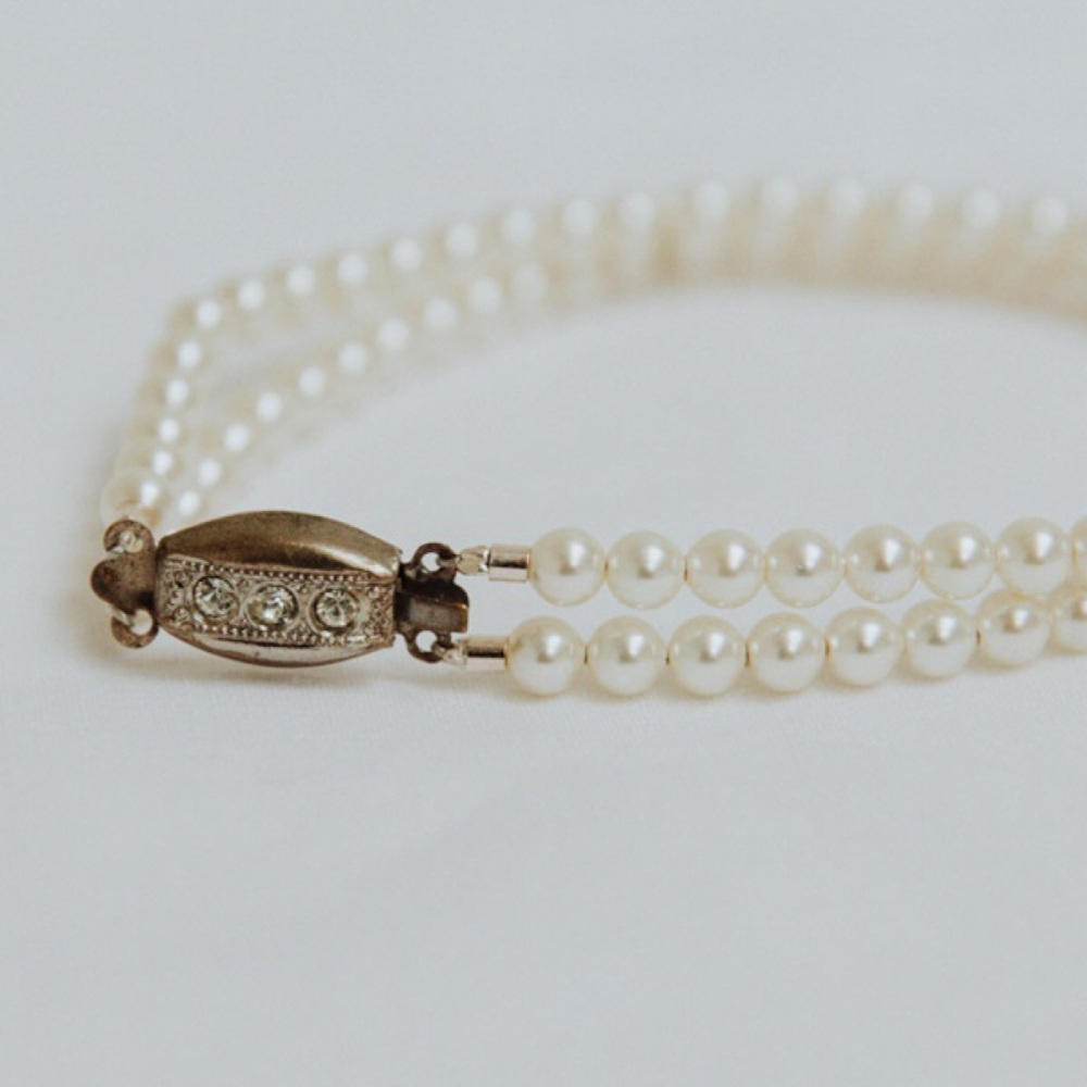 Pearl Double Strand Bracelet with Original Vintage Clasp