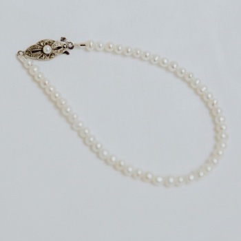 FRESHWATER PEARLS | Freshwater Pearl Single Strand Bridal Bracelet with antique sterling silver and marcasite clasp