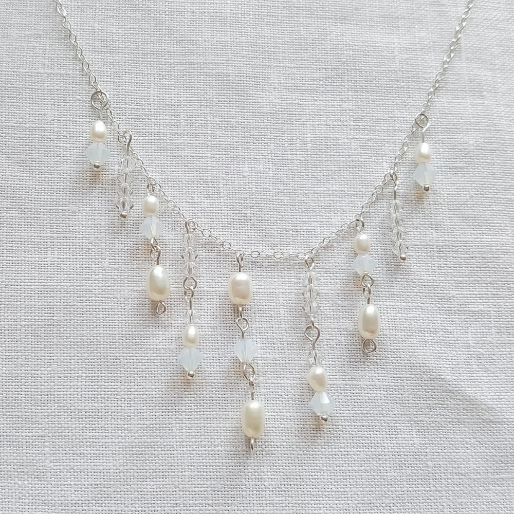 White Opal and Freshwater Pearl Victoriana Necklace