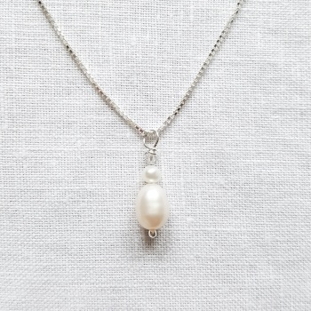 Double Pearl and Crystal Drop Necklace