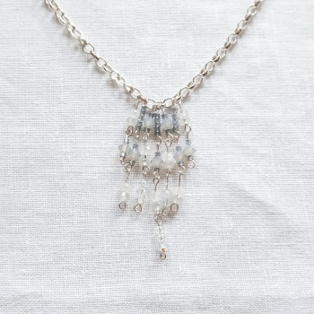 Modern Victoriana Aquamarine and sterling silver necklace