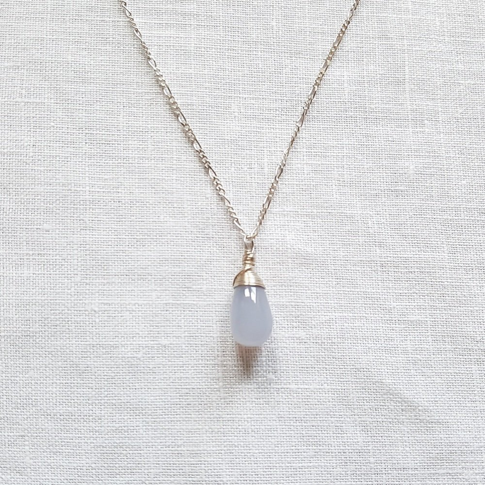 Sterling silver and Pale Blue Chalcedony Wire Wrapped Pendant Necklace