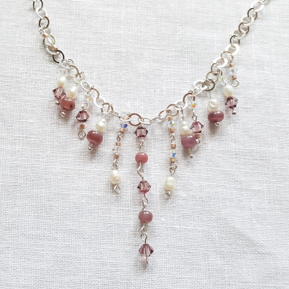 Semi-Precious Ruby and Pearl Victoriana Necklace