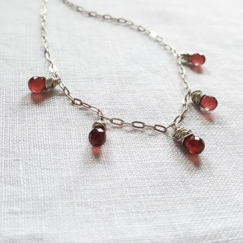 Sterling Silver and Garnet Drop Necklace