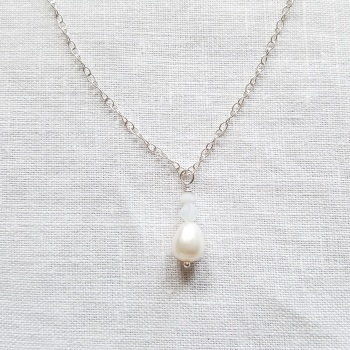 Pearl and Crystal Drop Necklace